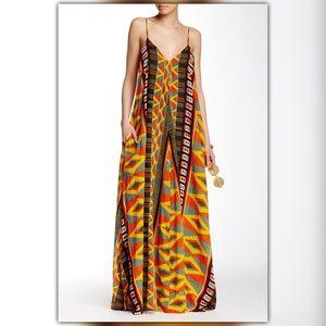 ISO Indah Penda Yellow Black Red Print Maxi Dress